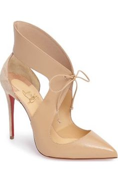 Free shipping and returns on Christian Louboutin Ferme Rouge Pump at Nordstrom.com. Pre-order this style today! Add to Shopping Bag to view approximate ship date. You'll be charged only when your item ships.A slightly flared collar and dramatic topline create tempting curves on a pointy-toe suede pump secured with slender ties. Leopard spots detail the daring stiletto heel, while Christian Louboutin's iconic sole pops beneath the exquisite stiletto silhouette.