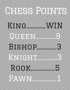 I created this for my students so that they can quickly count up chess piece point values during a tournament. This can also be used in class as a reference when teaching students the basics of chess. Best Chess Strategy, Chess Strategies, Family Game Night, Family Games, Chess Basics, Set Card Game, Card Games, Chess Tricks, Strategy Quotes