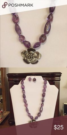 Gift Alert Handmade beaded necklace Gift Alert!  Pretty as a picture you'll be wearing this necklace. Purple beads with flower as the focal point. New, handmade Karen's Kreations Jewelry Necklaces