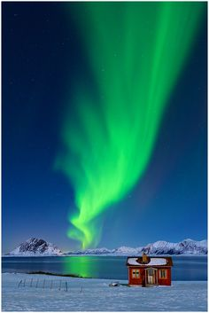 A remote seaside cabin in Lofoten, Norway, is dwarfed by the stunning beam of light from the astonishing aurora borealis, or northern lights. Lofoten, Beautiful Sky, Beautiful World, Beautiful Pictures, Northern Lights Norway, Natural Phenomena, Science And Nature, Belle Photo, Nature Photos