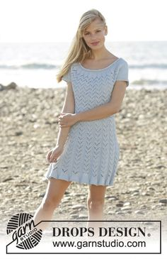 Marie dress with raglan, short sleeves and lace pattern by DROPS Design Free Knitting Pattern