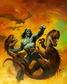 It doesn't get much more awesome than Frankenstein's Monster punching dinosaurs! By Alex Horley