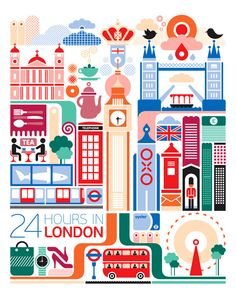 24 hours in London, England is part of a series designed by Fernando Volken Togni for the Oryx Magazine, Qatar Airways.