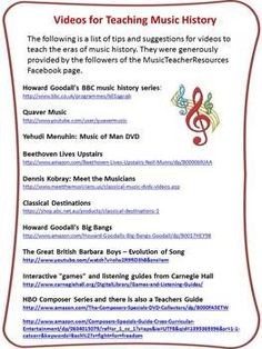 FREE download!    A two page file containing the names and links to videos/DVDs used by music teachers when teaching units on composers/music history.