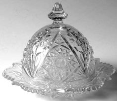 Imperial Glass- pattern cosmos number 476-round covered dish-1950 de la boutique…