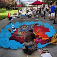 3D chalk art downtown disney
