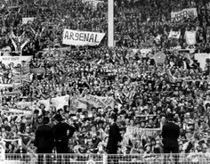 Arsenal fans inside Wembley Stadium during the 1971 FA Cup final against Liverpool