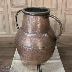 19th Century Hand-Hammered Copper Urn | www.inessa.com Antique Interior, Antique Furniture, Hammered Copper, Antique Copper, 19th Century, Primitive, Weapons, Armour, Vase