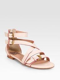 Crisscross Flat Sandal by Pour La Victoire: Back zip. #Sandals #Shoes #Pouor_La_Victoire