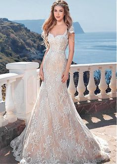 Elegant Lace Queen Anne Neckline Mermaid Wedding Dresses