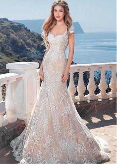 Buy discount Elegant Lace Queen Anne Neckline Mermaid Wedding Dresses at Laurenbridal.com