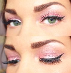 Pink eyes. I could totally do this with Arbonne's Petal eyeshadow and black liquid liner