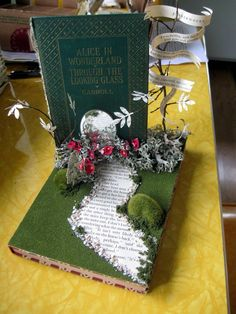 Through the Looking Glass. Alice in Wonderland altered book art