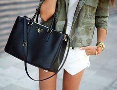 Camo jacket + black prada bag