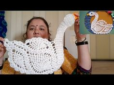 Learn Ho to crochet Duck Motif for Tablemat or Wall Hanging. stitch duck motif duck How to crochet swan & Sevan swan doily with Lotus fl. Crochet Bird Patterns, Crochet Birds, Crochet Crafts, Crochet Doilies, Crochet Lace, Cross Stitch Patterns, Crochet Flowers, Crochet Chain Stitch, Knitted Animals