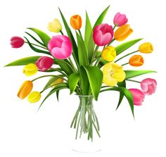 Vase with Tulips PNG Clipart