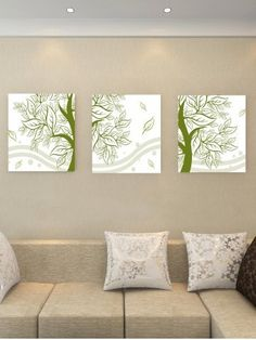 Leaf Prints, Canvas Art Prints, Canvas Wall Art, Wall Art Prints, Canvas Paintings, Hanging Paintings, Green Paintings, Three Canvas Painting, Starfish Painting