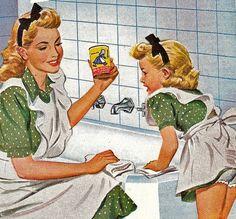 Mother-daughter bathtub scrub team. ~ ca. 1940s