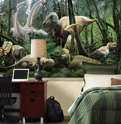 Custom dinosaur canvas wall art and decals in a kids bedroom or