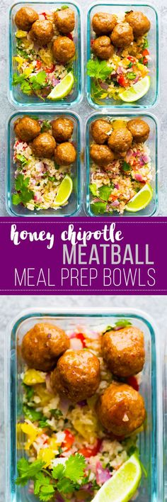 Honey Chipotle Meatball Meal Prep Bowls are the tastiest way to kick start your new years resolutions! Healthy baked turkey meatballs are tossed in a smoky sweet and savory honey chipotle glaze, and served over cilantro lime cauliflower rice. #mealprep #cauliflowerrice #lunch #meatball #turkey #chipotle
