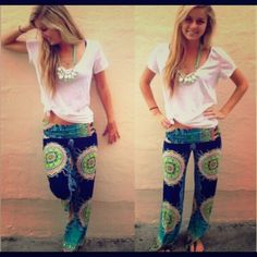 "Printed palazzo pants Cute side zippered pants, inseam 27"", polyester fabric with a silk like touch, does not stretch. Pants"