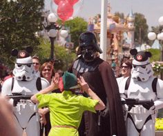 Sorry, but this is all kinds of wrong ... Peter Pan teasing Darth Vader while storm troopers wearing mouse ears look on.