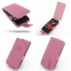 PDair Leather Case for Motorola Droid Razr M XT907 - Flip Type (Petal Pink)