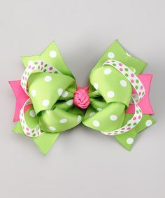 Take a look at this Bubbly Bows Lime & Hot Pink Polka Dot Bow by Bubbly Bows on #zulily today!