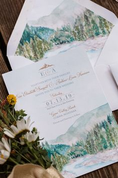 Custom Montana wedding invitation featuring a watercolor of Glacier National Park. Custom invitations: Hand-Painted Weddings Wedding Photographer: The DeLauras Venue: Green Valley Ranch Montana Watercolor Wedding Invitations, Printable Wedding Invitations, Custom Invitations, Invitation Ideas, Mountain Wedding Invitations, Destination Wedding Invitations, Wedding Invites Rustic, Green Wedding Invitations, Wedding Napkins