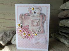 Teddy Bear Card 8 x 6 Pink Flower Card Happy by 4SeasonCards, €6.00