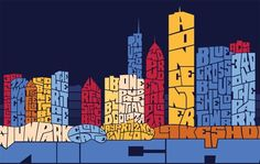 Joe Mills - Chicago Typography Skyline: Chicago Skyline, Joe Mills, Typography Skyline,