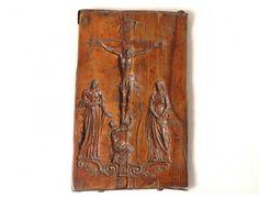 Moule à pain d épices bois sculpté crucifixion Vierge Saint-Pierre XVIIIème