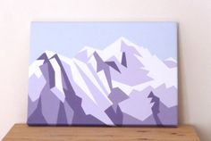 This is a painting showing the mountain Mont Blanc in the French Alps. Painted in a geometric style in shades of Purple and white with a duscky