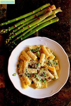 ComedorArteSano: Rigatoni con espárragos, champiñones y guisantes / Rigatoni ze szparagami, pieczarkami i groszkiem