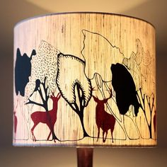 Beautiful! Handmade Designer Lampshade - Charcoal Day, Red Stags » Pretty Dandy