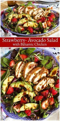 Strawberry Avocado Salad with Balsamic Chicken recipe from strawberry strawberries avocado avocados salad balsamic dressing chicken recipe RecipeGirl Summer Salad Recipes, Avocado Recipes, Summer Salads, Healthy Recipes, Dinner Salad Recipes, Healthy Salads, Meat Recipes, Balsamic Chicken Recipes, Chicken Salad Recipes