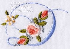 Amazing Embroidery Designs  letter D with roses