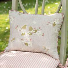 Handmade Linen Cushion Ivory Apple Blossom