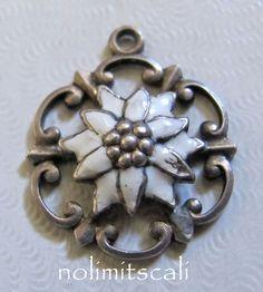 Vtg 800 EUROPEAN Silver & Enamel EDELWEISS ~ GERMAN Alpine FLOWER Bracelet Charm | eBay