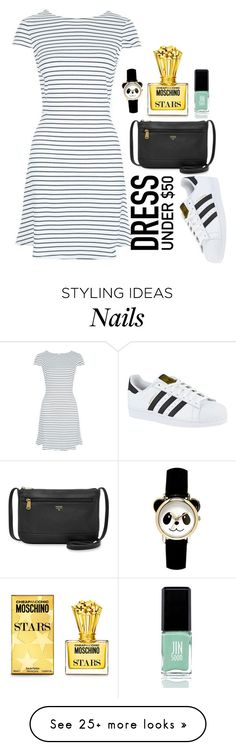 """Dress Under 50: Black and White"" by music-lover16 on Polyvore featuring New Look, adidas, JINsoon, Moschino, FOSSIL and Dressunder50"