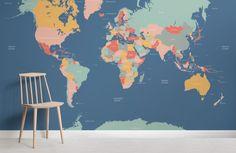 Navigator World Map Wallpaper Mural World Map Mural, Kids World Map, World Map Wallpaper, Boys Wallpaper, Pattern Wallpaper, Bedroom Wallpaper, Kids Room Murals, Kids Room Paint, Wall Murals