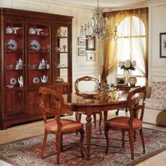 Elegant 800 Francese Style Dining Room: Inalyed Glass Showcase And Table, Carved  Chairs, All Walnut Wood | Vimercati Classic Furniture