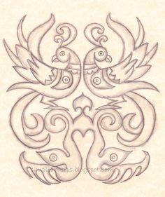 Madhubani style twin bird design