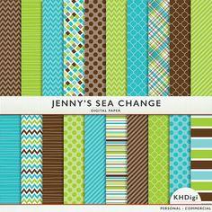 Digitale papier Jenny's Sea Change 20 vellen  groen door KHDigi