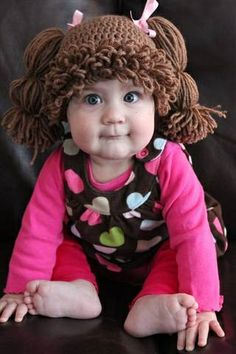 """OMGOSH......CABBAGE PATCH KIDS hats.....just tOOoOOooO CUTE!!!!!! :-)   VERY cool--->""""one of her customers makes them for children who have cancer and have lost their hair because of chemotherapy.""""♥"""