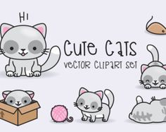 Premium Vector Clipart - Kawaii Cats - Cute Cats Clipart Set - High Quality Vectors - Instant Download - Kawaii Clipart