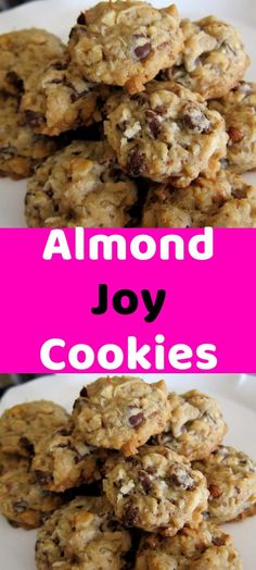 Almond Joy Cookies Ingredients: 1 cup butter 1 cups white sugar 1 cups b. Recipe For Almond Joy Cookies, Yummy Cookies, Chocolate Chip Cookies, Chocolate Chips, Cookies Ingredients, Cookie Sheets, Almond Recipes, Holiday Cookies, Desert Recipes