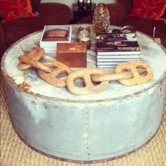 Rusticly refined in the #hamptons with our #Zinc Barn Silo #Coffeetable ! #accessories