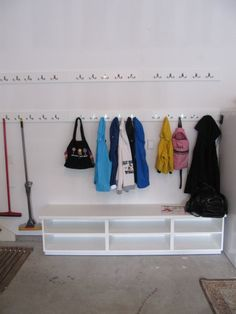 Mudroom in Garage SIMPLE bench with shoe storage