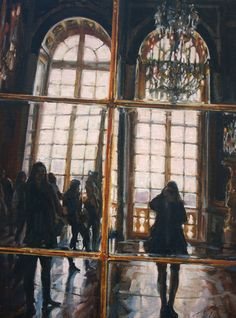 "May be today is a day of leisure, visiting an art museum or looking at art. This painting by California artist Lisa Mozzini-McDill shows a view of the Hall of Mirrors, the central gallery of the Palace of Versailles. ""Hall of Mirrors 2"" oil 16x12 a composition showing the beauty of the gallery and the balcony to the gardens of Versaille. Part of NOAPS online International Exhibits http://www.noaps.org/html/exhibits.html"